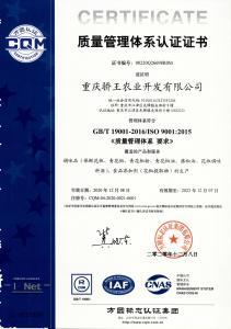 质量、环境、食品安全三体系认证证书